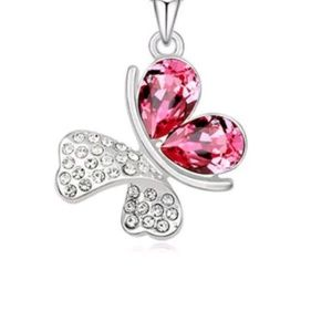 Pink Crystal Butterfly Pendant & Necklace Jewelry